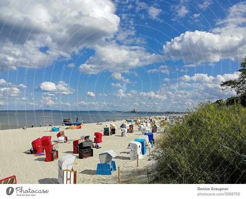 Beach baskets on the Baltic Sea on Usedom Mensch Ferien & Urlaub & Reisen Natur Sommer Wasser Sonne Meer Erholung Strand Hintergrundbild Deutschland Tourismus