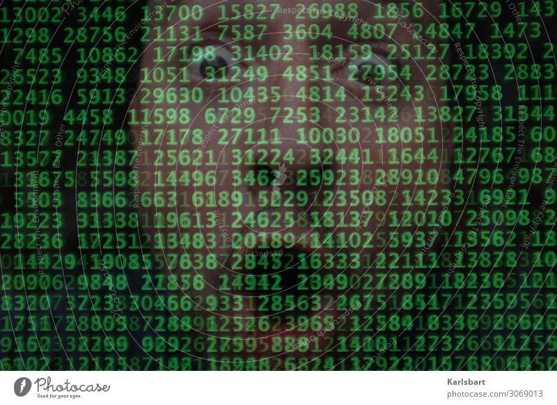 Überforderung Bildschirm High-Tech cyber Server Netzwerk Software programmieren Code Hacker Computer Digitalisierung Zahlen Zahlenkombination