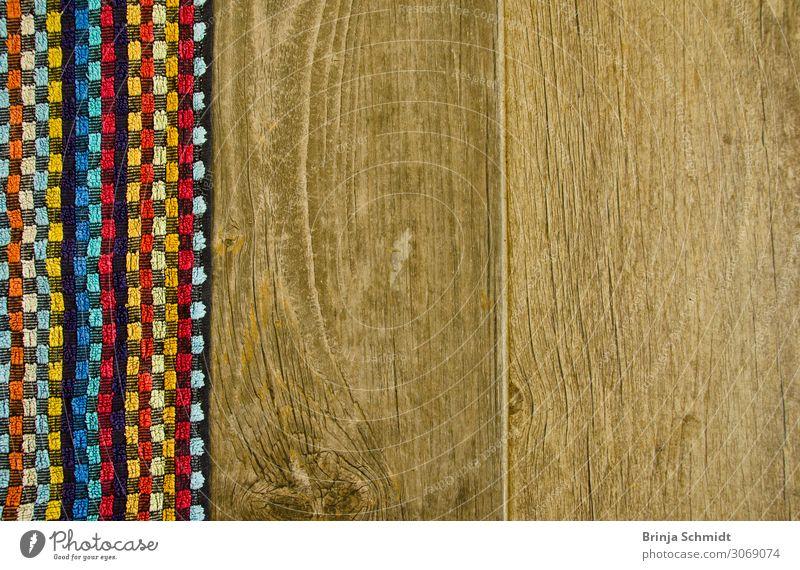 Stoff mit bunten Kaos trifft Holzmaserung Design Wohnung Dekoration & Verzierung Bad Häusliches Leben natürlich Sauberkeit braun mehrfarbig gehorsam ruhig