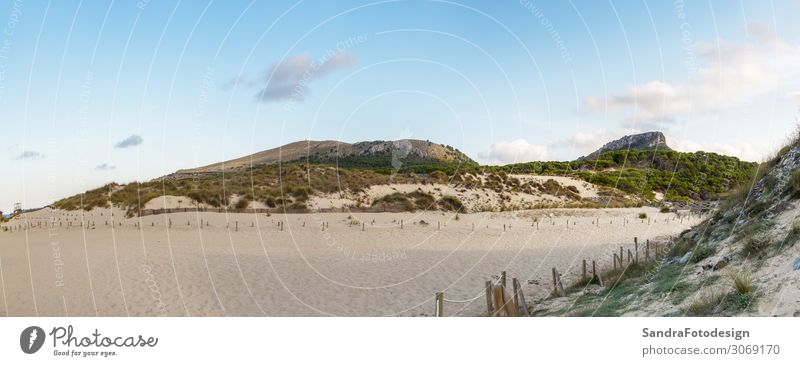 A panorama from dunes of Cala Mesquida, Mallorca Erholung Freizeit & Hobby Ferien & Urlaub & Reisen Tourismus Ausflug Sommer Strand wandern Natur Sand