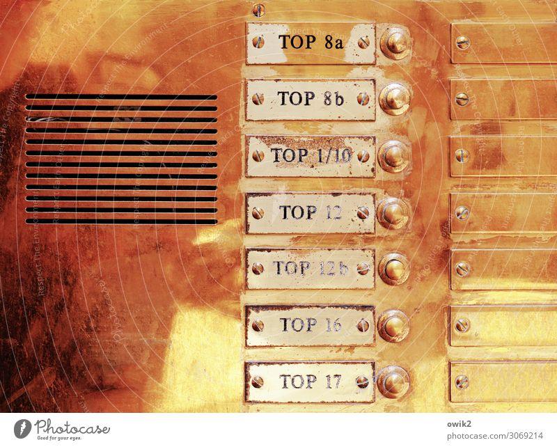 Nicht zu toppen Häusliches Leben Wien Klingel Haus Namensschild Gegensprechanlage anonym Datenschutz Blech Messing Messingschild Metall Schriftzeichen