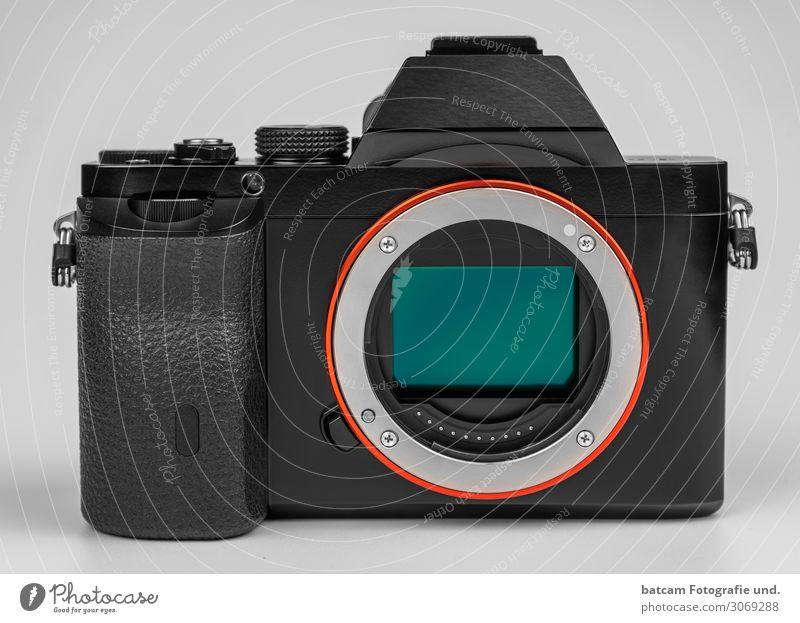 Spiegellose Systemkamera A7 Fotokamera Glas Metall Kunststoff grau grün orange schwarz silber kleinbildsensor Digitalkamera isoliert 35 mm Wechselobjektive