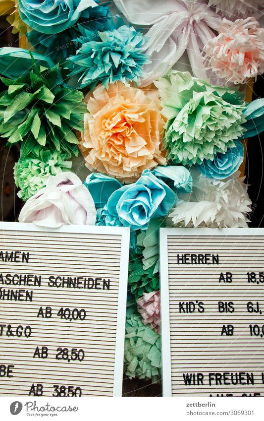 Preise Schaufenster Blume Blühend Blüte Dekoration & Verzierung Garten Gärtnerei Menschenleer Textfreiraum Rose Farbe mehrfarbig Kunst Kitsch Kunstblume