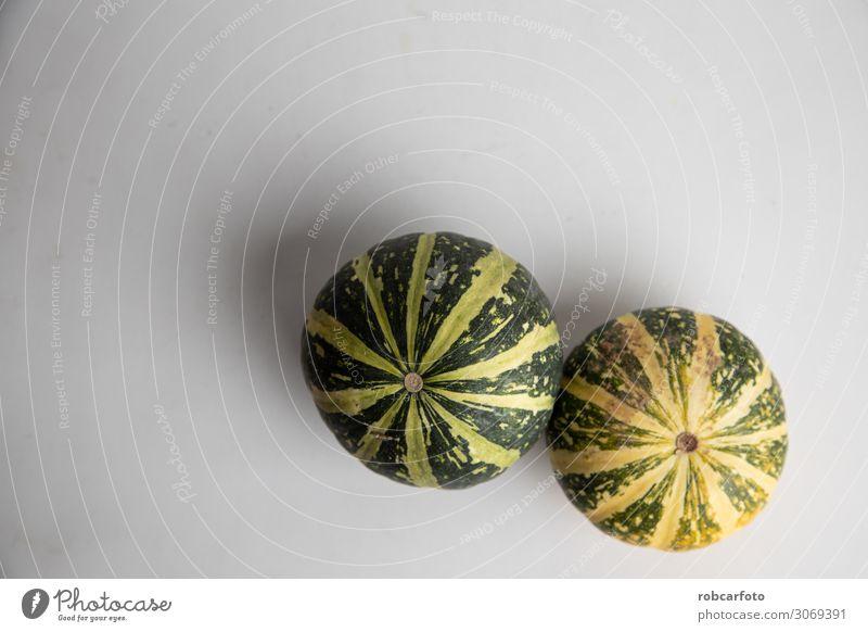 perfekte Kürbisse auf weißem Hintergrund Gemüse Dekoration & Verzierung Erntedankfest Halloween Pflanze Herbst frisch orange Lebensmittel reif vereinzelt