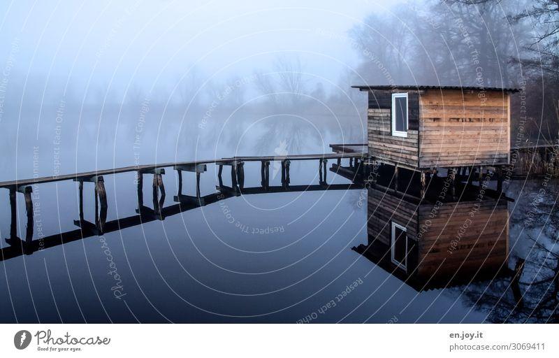 nebulös   Haus am See Natur blau Landschaft ruhig Winter dunkel Herbst Umwelt kalt Traurigkeit Freizeit & Hobby Nebel Trauer Seeufer Hütte