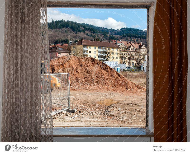 Wandel Baustelle Freiburg im Breisgau Stadt Haus Fenster Vorhang Wandel & Veränderung Häusliches Leben Wohnungssuche Farbfoto Innenaufnahme Menschenleer