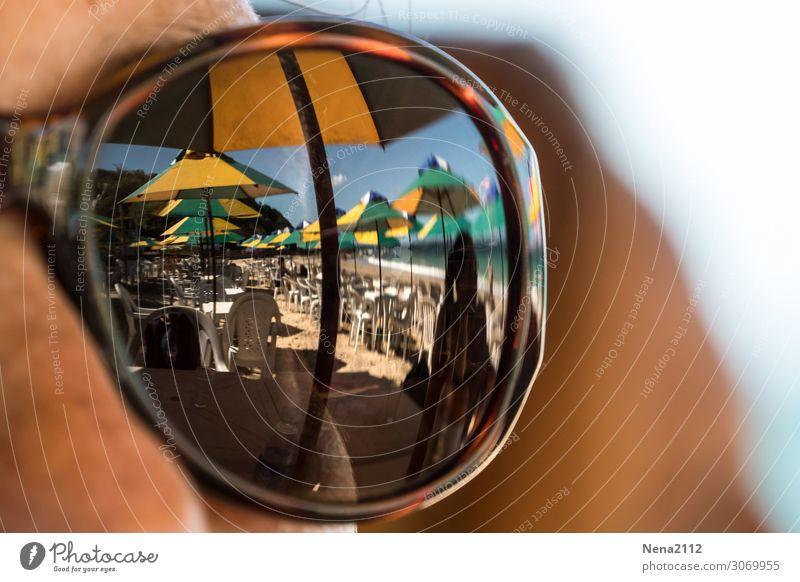 Fernweh Mensch feminin Junge Frau Jugendliche Erwachsene 1 Umwelt Natur Sand Himmel Sonne Sommer Strand Meer Ferien & Urlaub & Reisen Sonnenbrille Brasilien