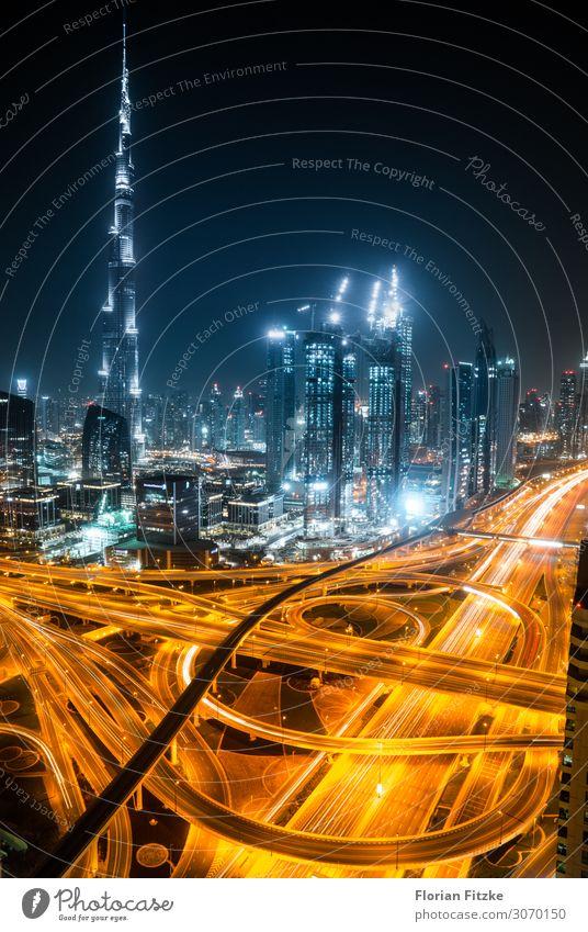 Dubai skyline and motorway Stadt Architektur Gebäude Tourismus Hochhaus Geschwindigkeit Sehenswürdigkeit Skyline Wahrzeichen Bauwerk Hauptstadt Stadtzentrum