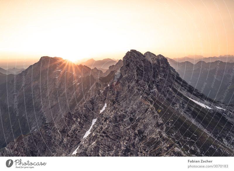 Sonnenaufgang am Nebelhorn Berge u. Gebirge wandern Natur Landschaft Wolkenloser Himmel Sonnenuntergang Sommer Schönes Wetter Alpen Nebelhorn (Berg) Gipfel