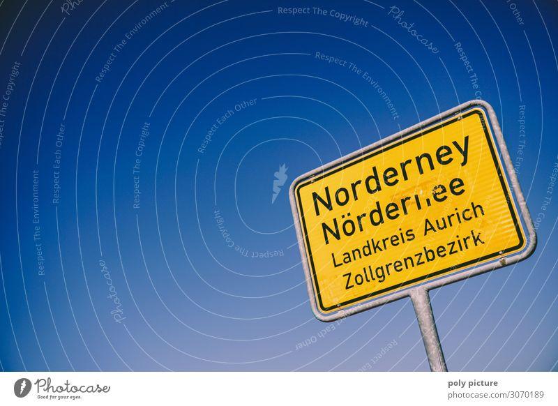 Ortseingangsschild von Norderney Freizeit & Hobby Ferien & Urlaub & Reisen Tourismus Sommer Sommerurlaub Umwelt Klimawandel Nordsee Meer Erholung