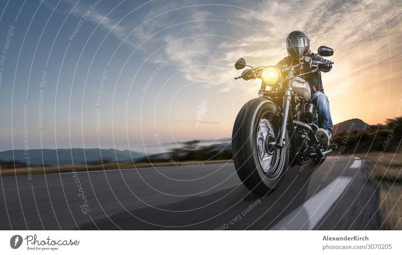 motorbike on the road riding. Lifestyle elegant Freude Ferien & Urlaub & Reisen Sport Motor Mensch Natur Landschaft Sonnenaufgang Sonnenuntergang Sonnenlicht