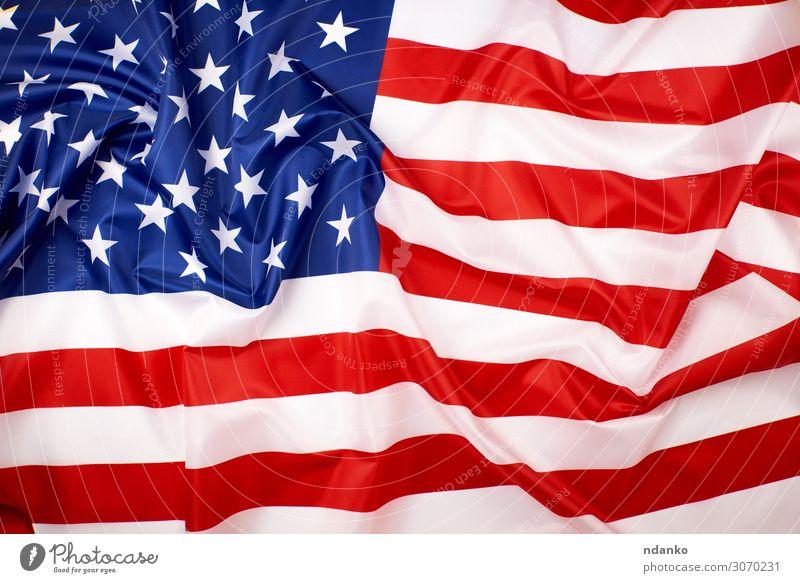 nationale Textilflagge der Vereinigten Staaten von Amerika Freiheit Feste & Feiern Wind Stoff Streifen Fahne historisch blau rot weiß Selbstständigkeit
