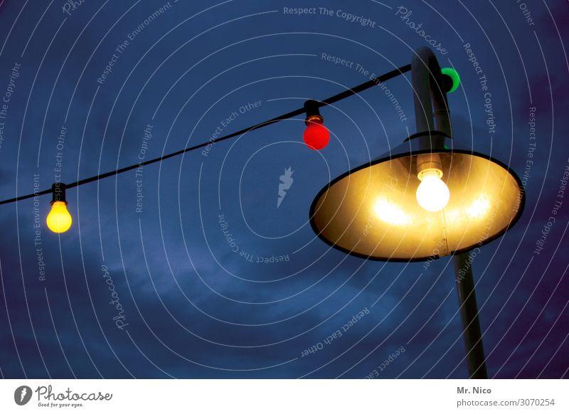 licht und schatten Freizeit & Hobby Ferien & Urlaub & Reisen Garten Lampe Nachtleben Party Veranstaltung Himmel Wolken Klima gelb rot Lichterkette