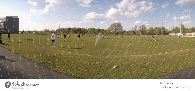das spiel grün Baum Sonne Wolken Sport Linie Horizont Studium Sportmannschaft Ball Rasen Sportplatz