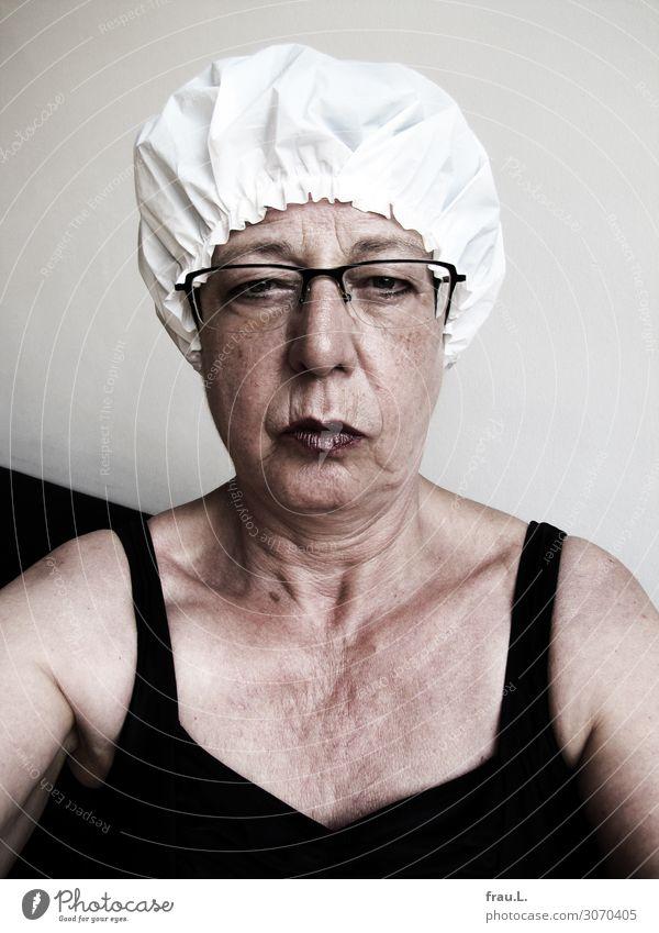 Genervt Frau Mensch alt schön weiß schwarz Gesicht Erwachsene Senior feminin Stil Denken sitzen 60 und älter warten Brille