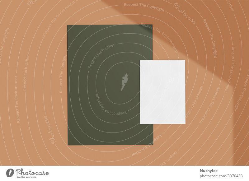 Branding Identitätsnachbildung einer leeren Visitenkarte Stil Design Büro Business Umwelt Herbst Papier dunkel modern Sauberkeit braun grün weiß Idee