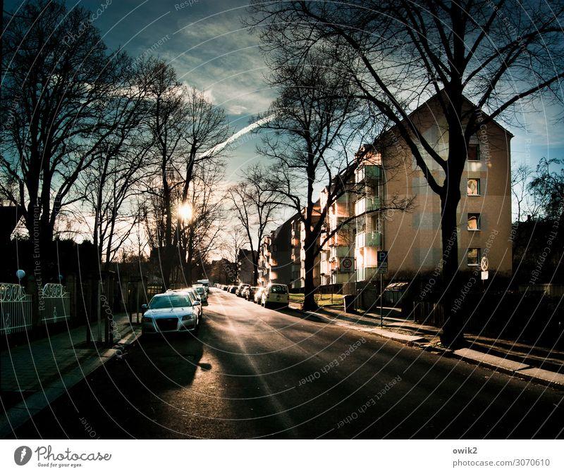 Straßenbeleuchtung Himmel Wolken Schönes Wetter Baum Stadt Stadtrand bevölkert Haus Balkon Fenster Verkehr Bürgersteig PKW parken leuchten stehen warten ruhig