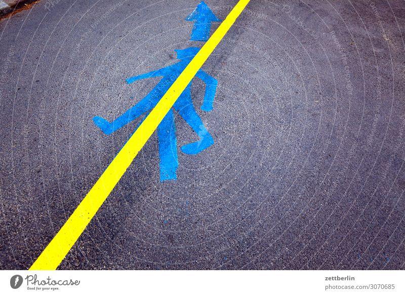 Durchgestrichen Asphalt Wege & Pfade Straße Schilder & Markierungen Piktogramm Mensch Mann Fahrbahnmarkierung Hinweisschild Warnhinweis Textfreiraum