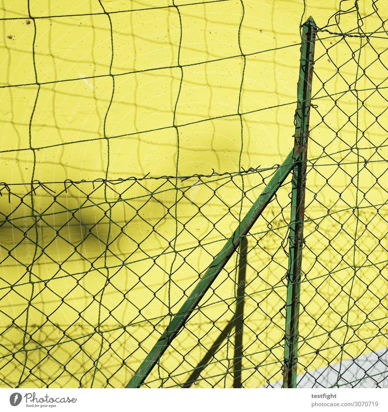 zaun Zaun Zaunpfahl Gartenzaun Schutz gelb grün Mauer Farbfoto Außenaufnahme Licht Schatten Kontrast Sonnenlicht
