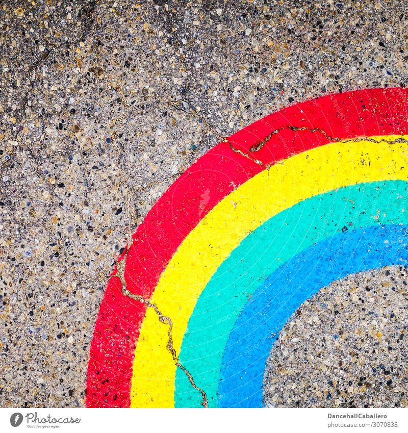 lebe bunt... Lifestyle Kunst Natur Wetter Mauer Wand Stein Zeichen Graffiti Linie Coolness frei trendy blau mehrfarbig gelb rot türkis Freude Lebensfreude