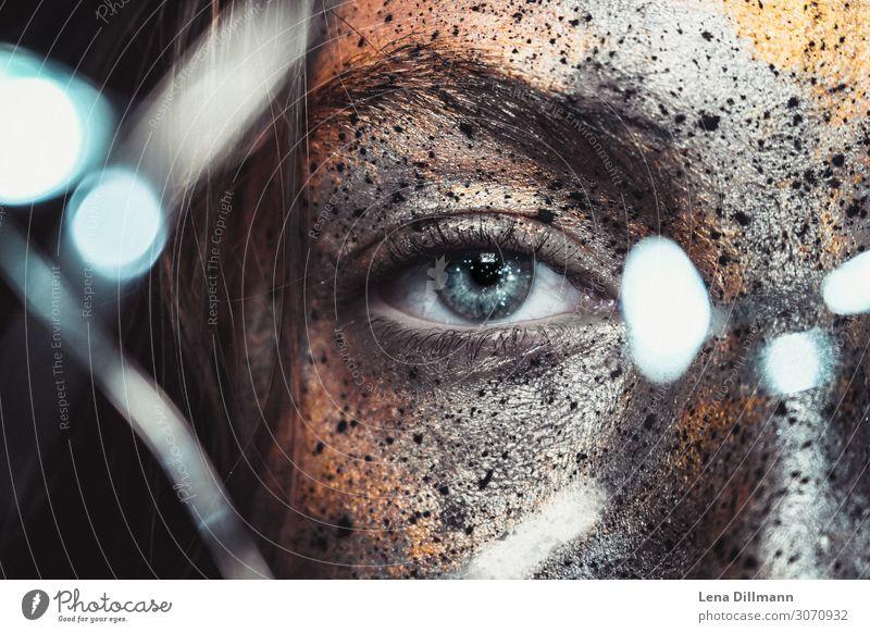 Bodypainting #1 Gesicht Körpermalerei Karneval Halloween Mensch feminin androgyn Junge Frau Jugendliche Erwachsene Auge 18-30 Jahre Kunst Schauspieler Metall