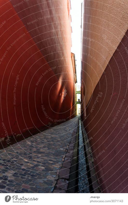 Gassi gehen Ausflug Freiburg im Breisgau Pflastersteine Gebäude Mauer Wand rot Ziel schmal eng Wege & Pfade Gasse Fluchtpunkt Farbfoto Außenaufnahme