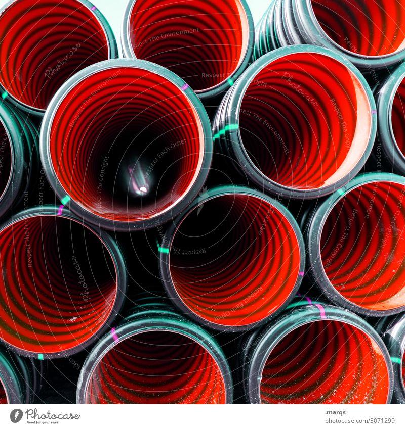 Red Tubes Farbe rot schwarz Arbeit & Erwerbstätigkeit Ordnung Perspektive Baustelle Verbindung Röhren
