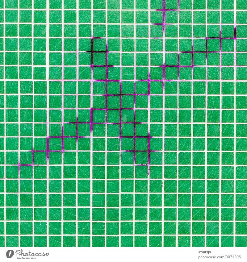 Stichtag Mauer Wand Mosaik x Kreuz Schriftzeichen grün weiß Wahlen Termin & Datum Farbfoto Außenaufnahme Detailaufnahme abstrakt Muster Strukturen & Formen