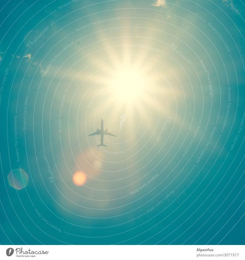 Ab in die Sonne Luftverkehr Flugzeug fliegen Sehnsucht Heimweh Fernweh Scham Angst Höhenangst Flugangst Abenteuer Business Endzeitstimmung