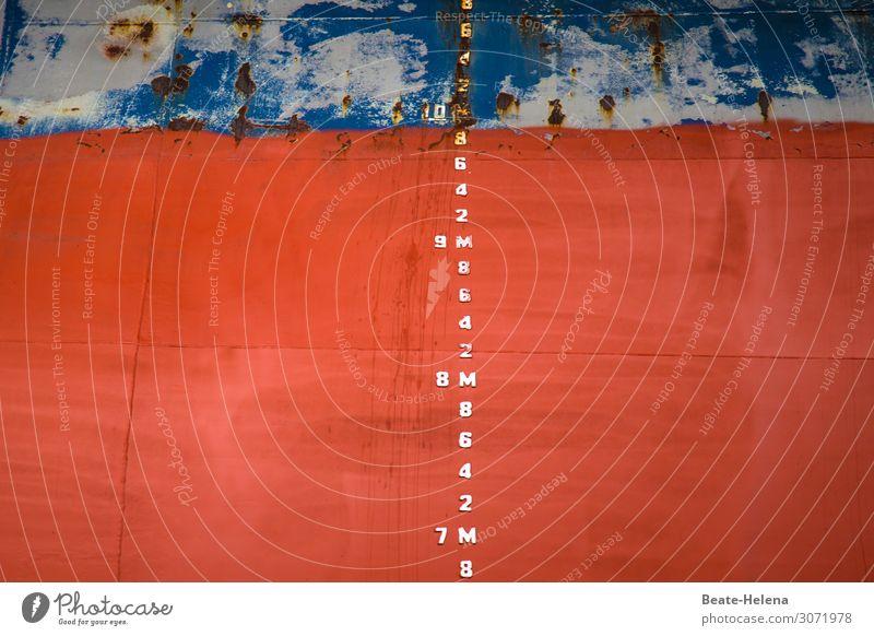 rote Maßnahme Industrie Dienstleistungsgewerbe Messinstrument Maßband Hafen Fassade Schifffahrt Containerschiff Stahl Rost Zeichen Schriftzeichen