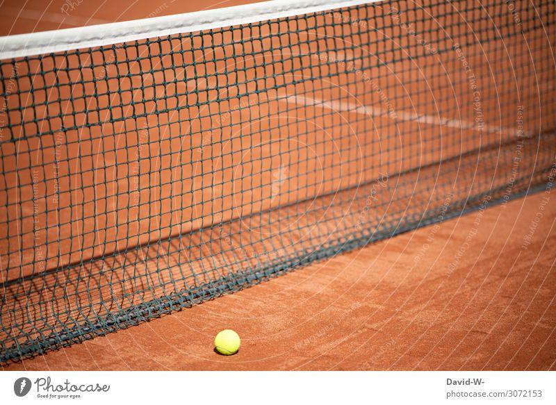 Tennis - das Spiel ist aus Tennisnetz Netz Tennisball Tennisplatz vorbei Ende Game over geschlossen Sport Sportveranstaltung draußen verloren Tennisturnier