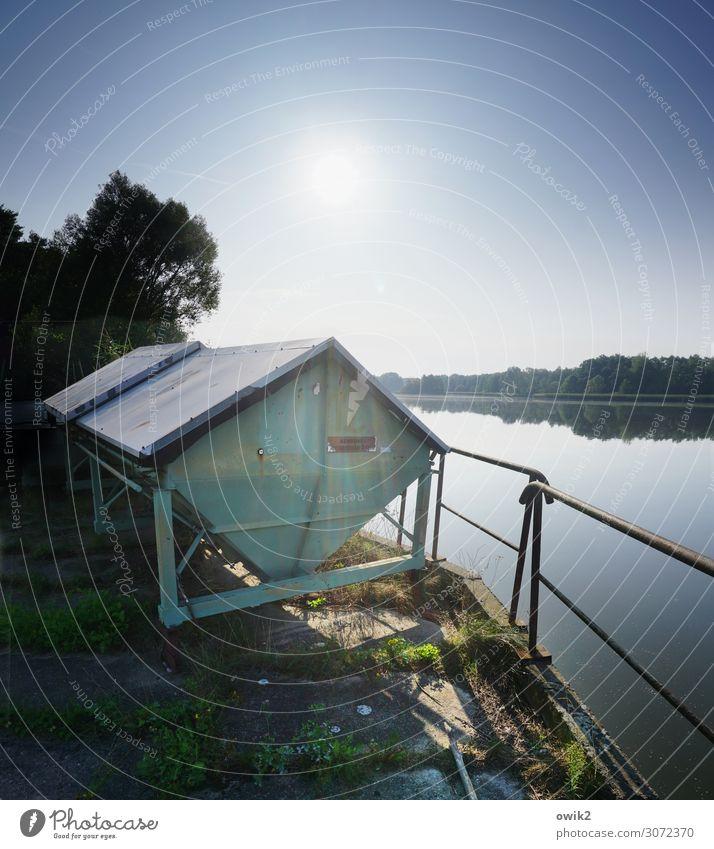 Blechkiste Umwelt Natur Landschaft Luft Wasser Wolkenloser Himmel Horizont Sonne Sommer Schönes Wetter Baum Gras Seeufer Container Behälter u. Gefäße Geländer