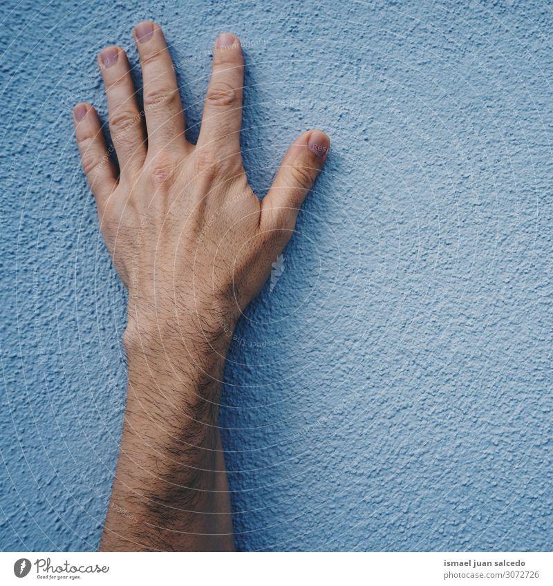 Mann Hand auf der blauen Wand auf der Straße Finger Handfläche Körper Handgelenk Arme Haut Mensch gestikulieren Entwurf Symbole & Metaphern Außenaufnahme