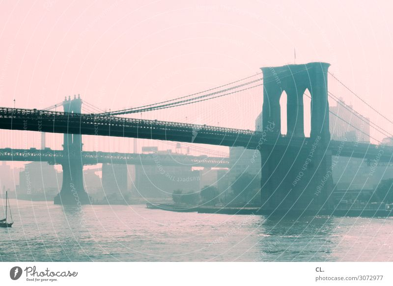 brooklyn bridge / manhattan bridge Himmel Ferien & Urlaub & Reisen Stadt Wasser Architektur Wege & Pfade Gebäude außergewöhnlich Verkehr ästhetisch Brücke Fluss