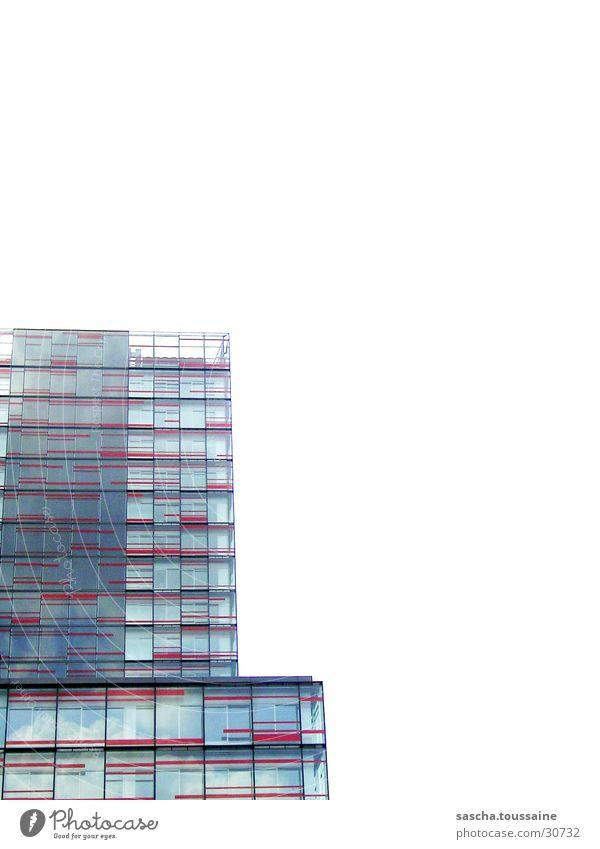 Red-Tower Himmel weiß rot Wolken Architektur Glas Hochhaus Hamburg Fassade modern