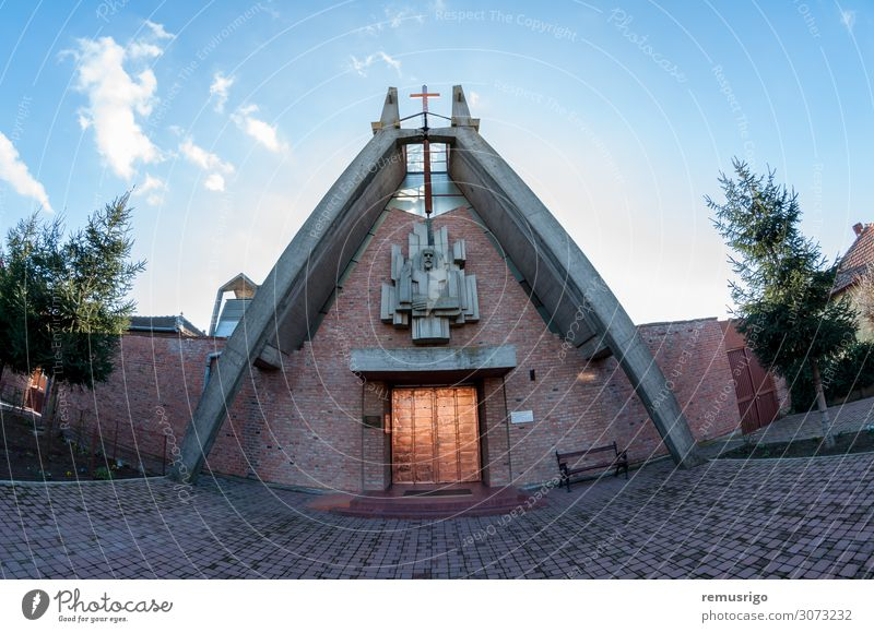 Blick auf eine katholische Kirche Ferien & Urlaub & Reisen Himmel Stadt Gebäude Architektur historisch Religion & Glaube 2014 Dumbravita Rumänien Christentum