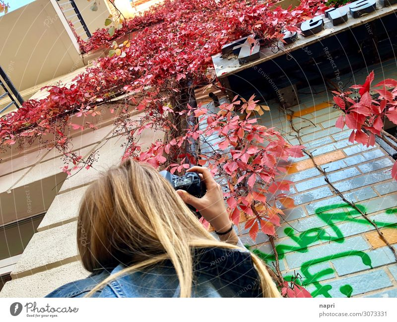 Fotografie Freizeit & Hobby Fotografieren feminin Junge Frau Jugendliche Leben 1 Mensch Fotokamera Berlin Stadt Fassade Blick authentisch mehrfarbig Freude Idee
