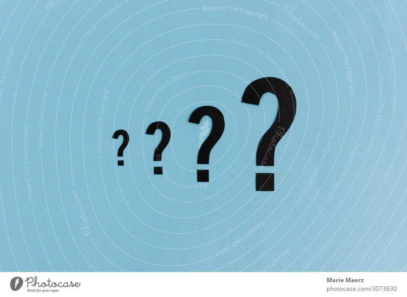 Die große Fragen blau sprechen Denken Schriftzeichen Kommunizieren lernen Studium Zeichen Neugier Erwachsenenbildung Bildung Beratung Wissenschaften