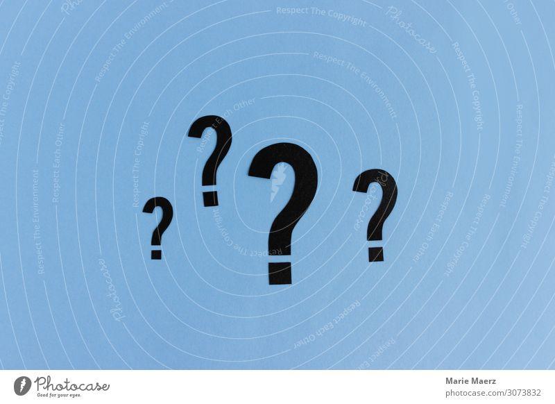 Viele Fragen offen | 4 Fragezeichen in verschiedenen Größen Wissenschaften Studium Zeichen blau Beratung Farbfoto abstrakt Studioaufnahme Hintergrund neutral