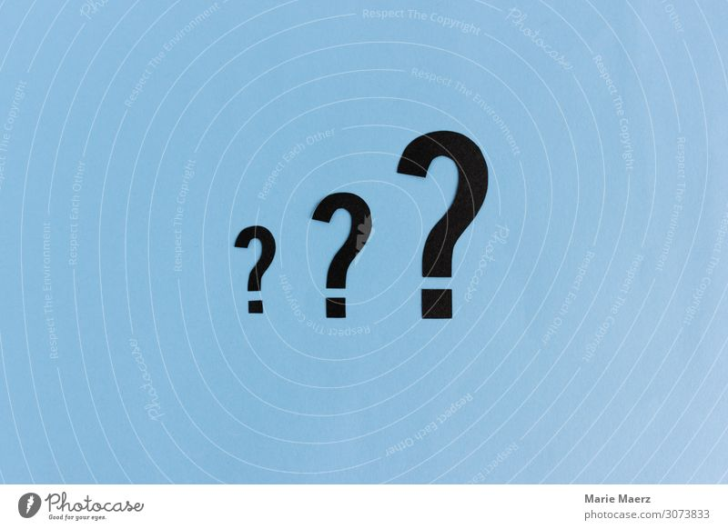 Die drei Fragezeichen Bildung Wissenschaften lernen Studium Karriere sprechen Zeichen Beratung Kommunizieren Neugier blau Interesse Rätsel Fragen Suche