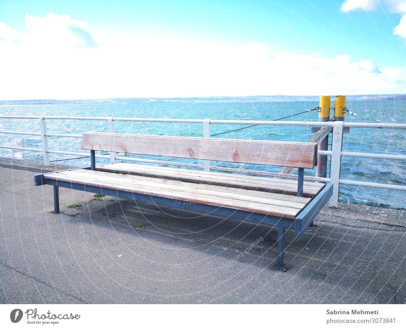 Bank Lifestyle ruhig Ausflug Freiheit Sightseeing Natur Landschaft Wasser Himmel Horizont Sonne Sommer Seeufer genießen Ferien & Urlaub & Reisen Blick träumen
