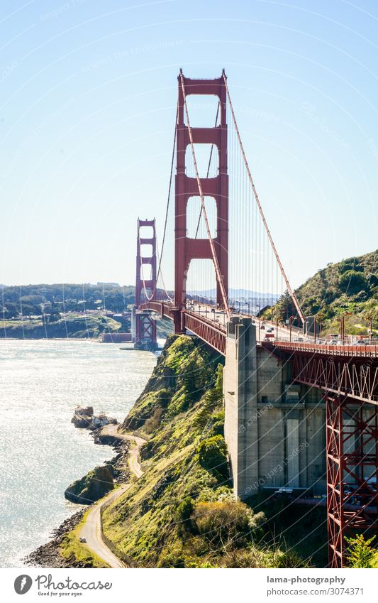 Das goldene Tor Ferien & Urlaub & Reisen Architektur Küste Tourismus Freiheit Ausflug Verkehr USA Brücke Sehenswürdigkeit Wahrzeichen Bauwerk Bucht Städtereise