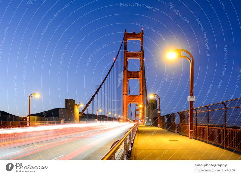 Golden Ferien & Urlaub & Reisen Stadt Straße Architektur Freiheit Verkehr leuchten USA Brücke Sehenswürdigkeit Wahrzeichen Bauwerk Amerika Verkehrswege