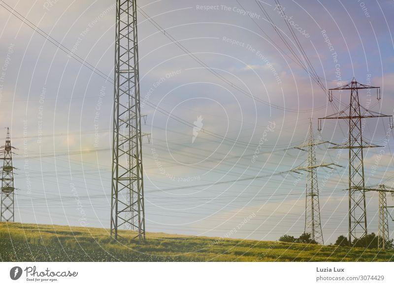 Sommerlicht, elektrisch Energiewirtschaft Umwelt Natur Landschaft Himmel Wolken Sonne Sonnenlicht Schönes Wetter Gras Feld Stadtrand Menschenleer Strommast