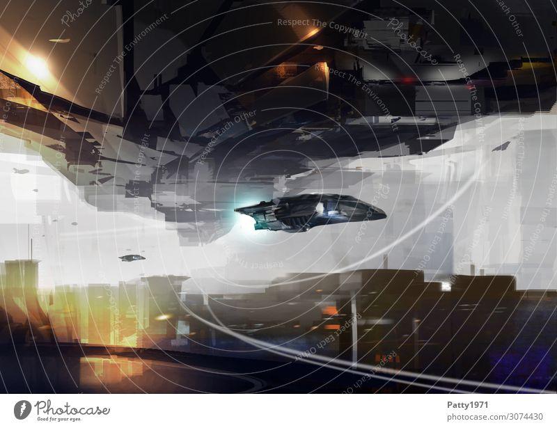 Arrival Technik & Technologie Fortschritt Zukunft High-Tech Luftverkehr Raumfahrt Stadtzentrum Skyline Hochhaus Fluggerät fliegen dunkel braun gelb grau