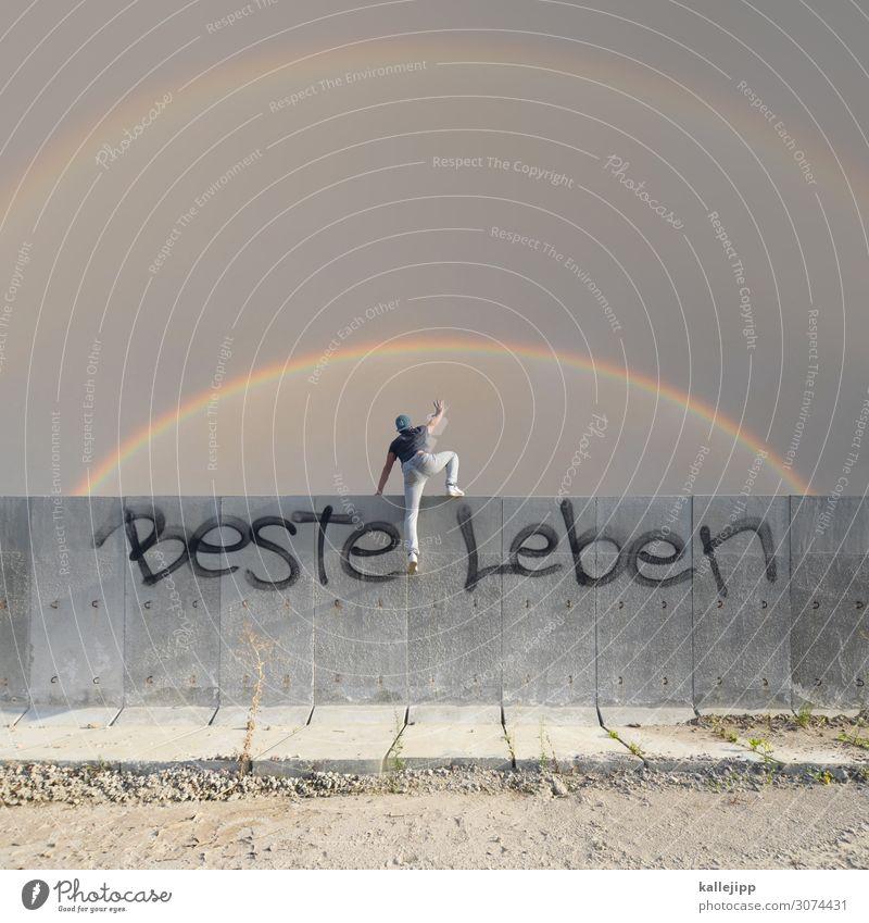 we'll cross the lines and dance upon the streets Mensch Lifestyle Erwachsene Leben Wand Mauer maskulin Körper 45-60 Jahre Zukunft Hoffnung planen Glaube