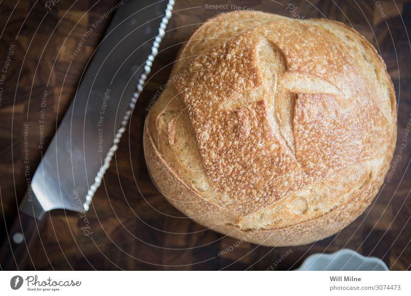 frisch kochen & garen Küche Essen zubereiten Brot Messer backen Schneidebrett Tafelmesser geschnitten Koch Bäcker Belegtes Brot Schneidewerkzeug