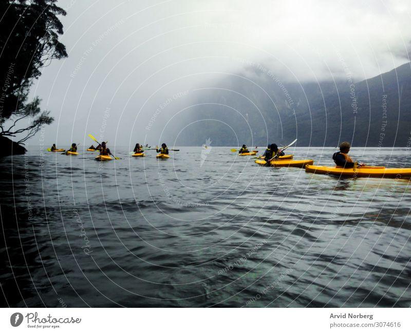Mehrere junge Leute in gelben Kajaks in Milford Sound, Neuseeland, während eines nebligen Tages Aktion aktiv Aktivität Abenteuer schön Boot Spaß grau