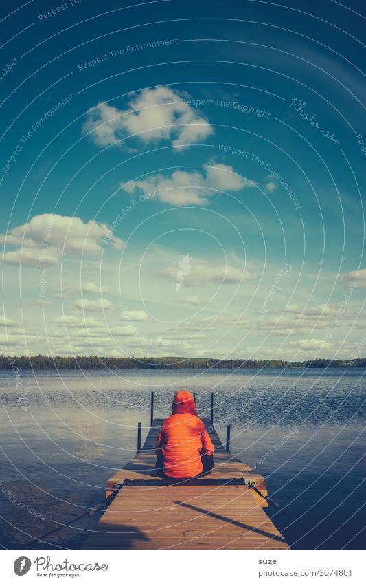 Wehfrohmensch Mensch Himmel Ferien & Urlaub & Reisen Natur Sommer Pflanze blau Wasser Landschaft Wolken Einsamkeit ruhig Gesundheit Umwelt Freiheit See