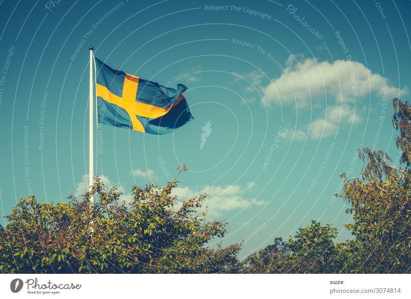Hochgestecktes Himmel Ferien & Urlaub & Reisen Natur Sommer Pflanze grün Landschaft Baum Umwelt Freiheit Europa Wind Sträucher Klima Fahne Feiertag